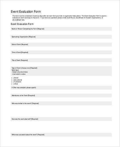 business event evaluation form