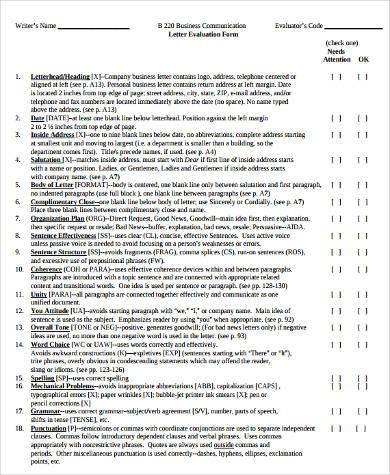 business letter evaluation form