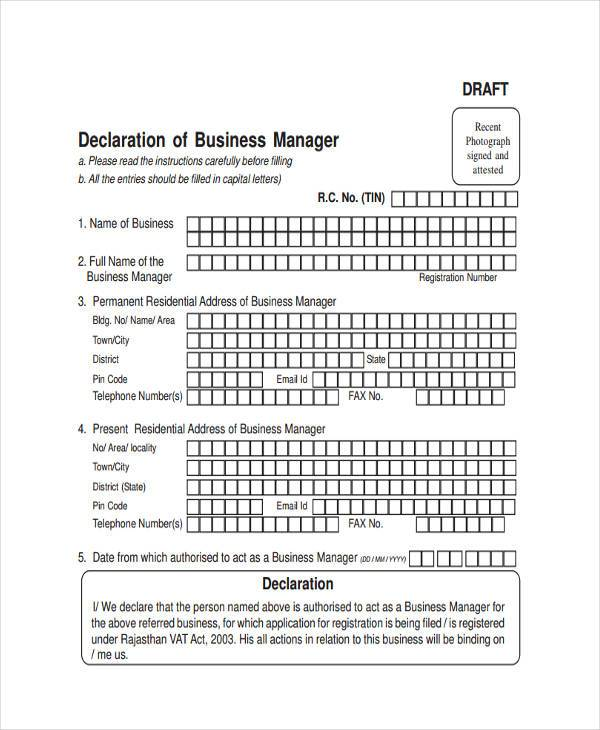 business manager short form