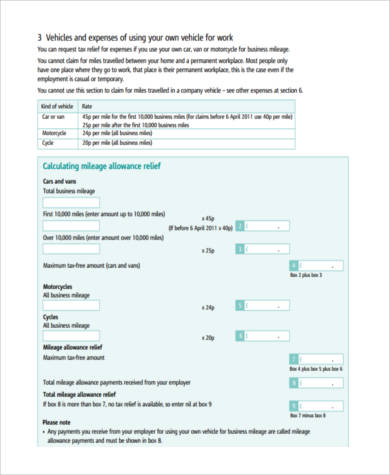 business mileage tax form