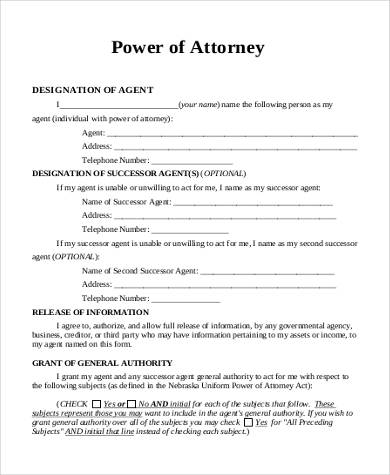 Sample Power Of Attorney Forms   Free Documents In Pdf