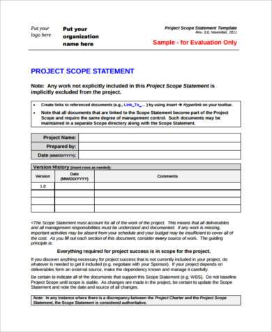business project scope statement