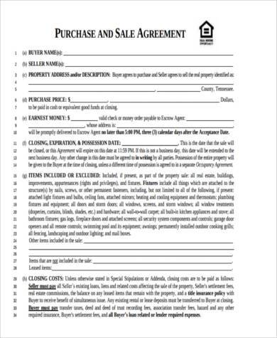 Sample Generic Purchase Agreement Forms   Free Documents In