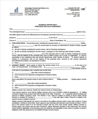 business sale agreement form