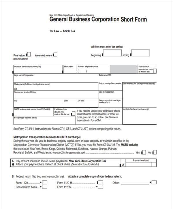business short form example
