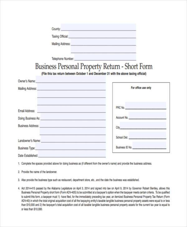 business short form in pdf