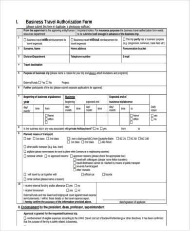 business travel form sample