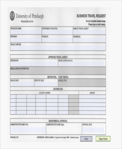 business travel request form