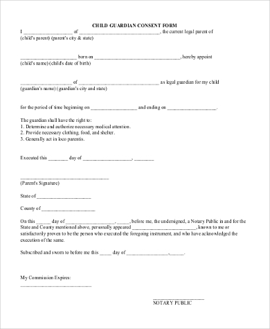 Legal Guardianship Form Child Guardian Consent Form Sample Legal
