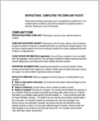 complaint form general release form