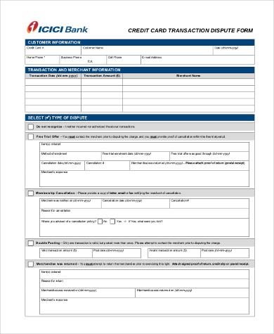 credit transaction dispute form