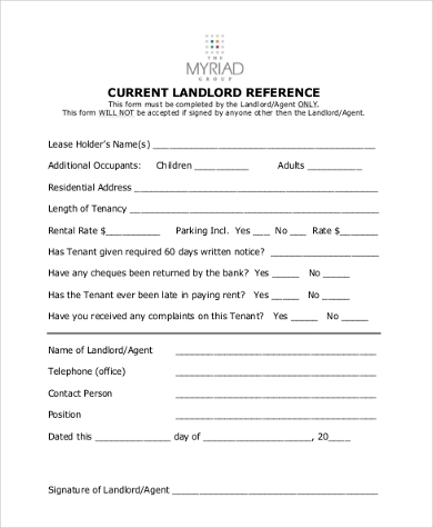 Sample Landlord Reference Form   Free Documents In Word Pdf