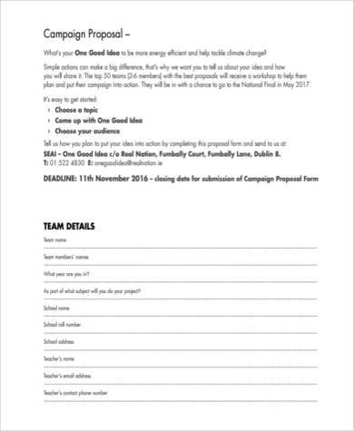 campaign proposal form example