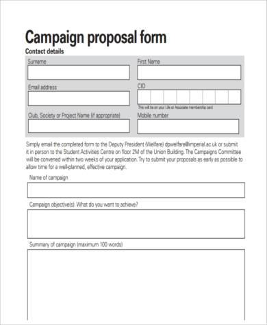 campaign proposal form in pdf