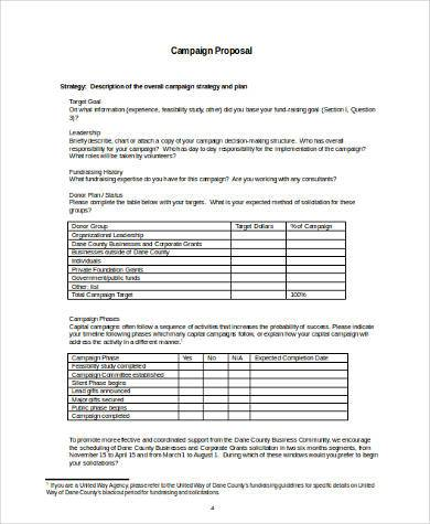 campaign proposal form in word format