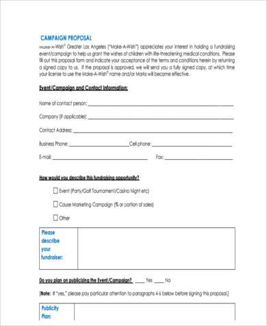 campaign proposal form