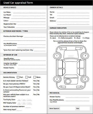 car appraisal blank form