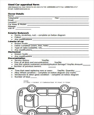 Car Appraisal Form Samples - 8+ Free Documents In Word, Pdf
