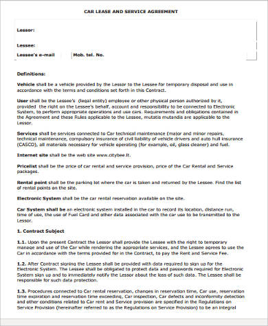 Elegant Car Lease Agreement Form