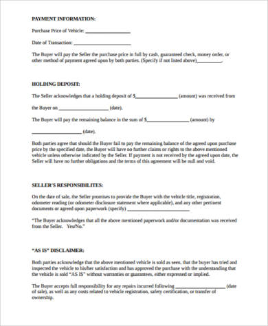 car payment contract form