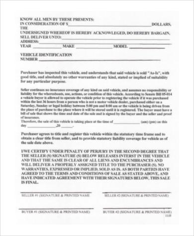 car purchase agreement pdf