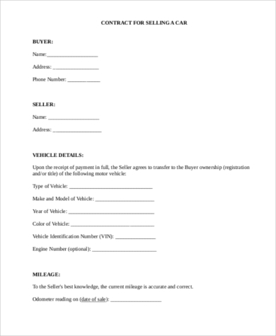 car purchase agreement 8 free documents in word pdf