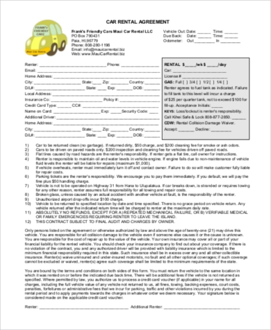 Rental Agreement Form Sample - 9+ Free Documents In Word, Pdf
