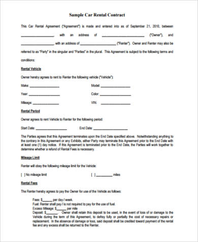 Sample Rental Contract Forms   Free Documents In Word Pdf