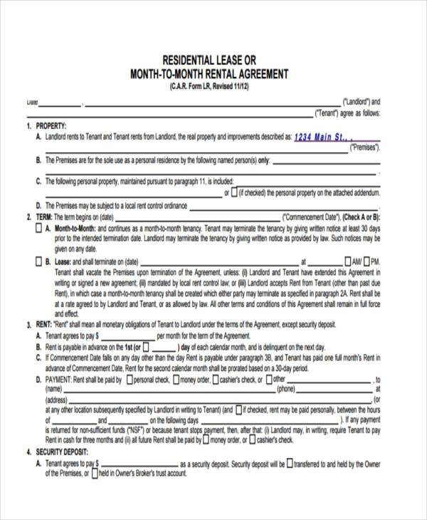 Car Lease Form Printable Sample Rental Verification Form