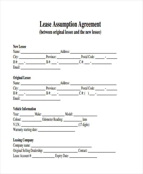 car lease assumption agreement