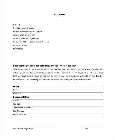 catering bid proposal form