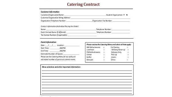 Catering contract form samples 8 free documents in word pdf 8 catering contract form samples maxwellsz