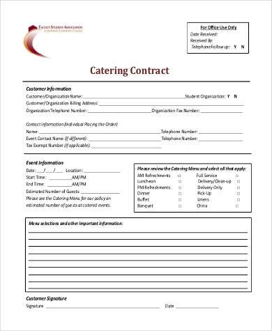 Catering Contract Form In PDF