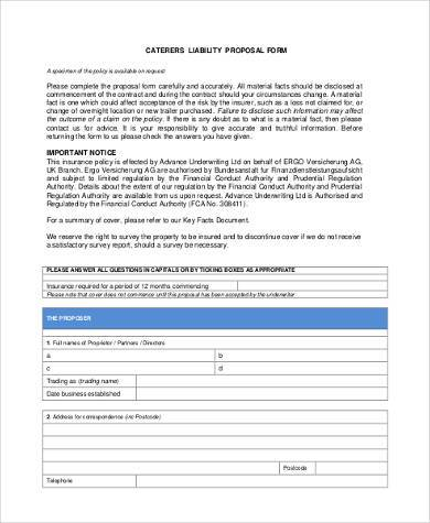 catering insurance proposal form