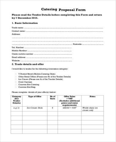 Catering Proposal Templates  Free Sample Example