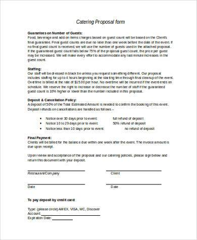 catering proposal form in word format