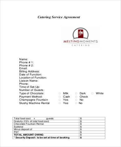 catering service contract form