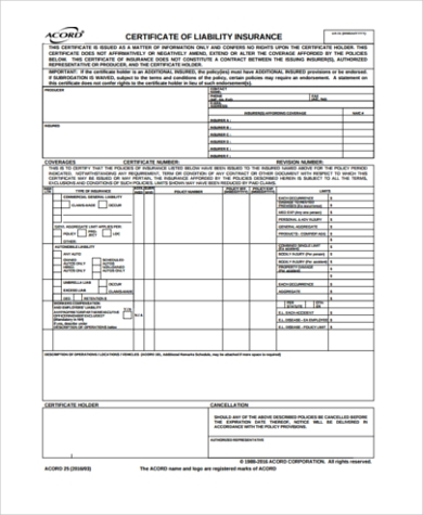Sample Certificate Of Liability Insurance Forms - 6+ Free