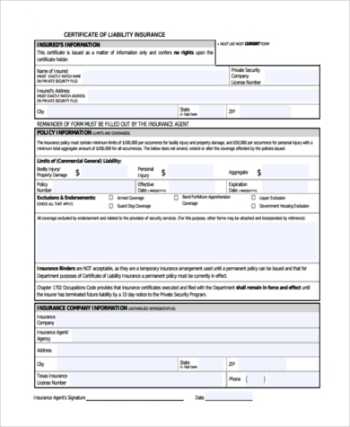 FREE 6+ Sample Certificate of Liability Insurance Forms in ...