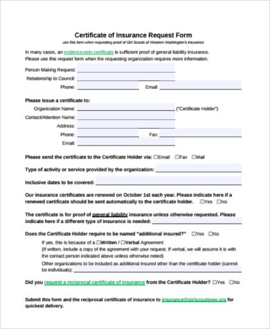 Sample certificate of liability insurance forms 6 free certificate of liability insurance request form yadclub Choice Image