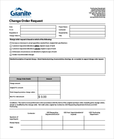Charmant Change Order Request Form
