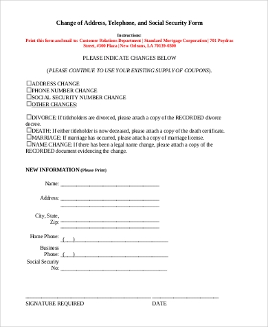 Change Of Address Social Security Form  Free Change Address