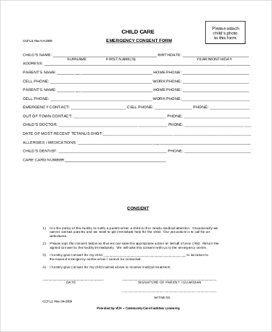 child care medical consent form