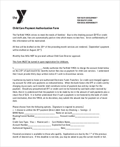 child care payment authorization form
