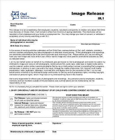 child image release form
