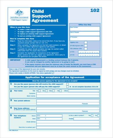child maintenance agreement form