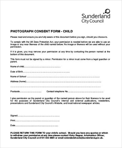 child photo consent form