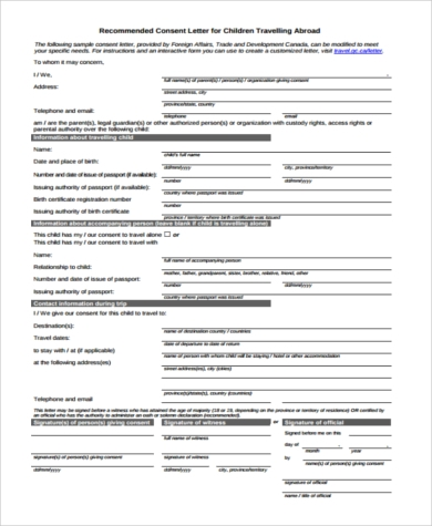 child travel consent form free