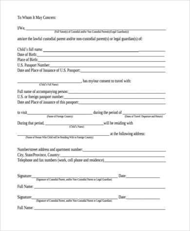 Child Travel Consent Form For One Parent  Parental Travel Consent