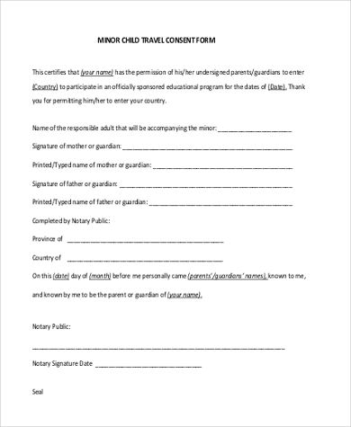 Attractive Child Travel Consent Form